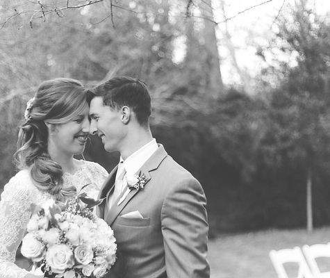 classic black and white bride and groom outdoors