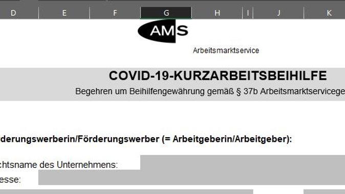 Ausfülltool AMS-Antrag auf COVID-19-KURZARBEITSBEIHILFE