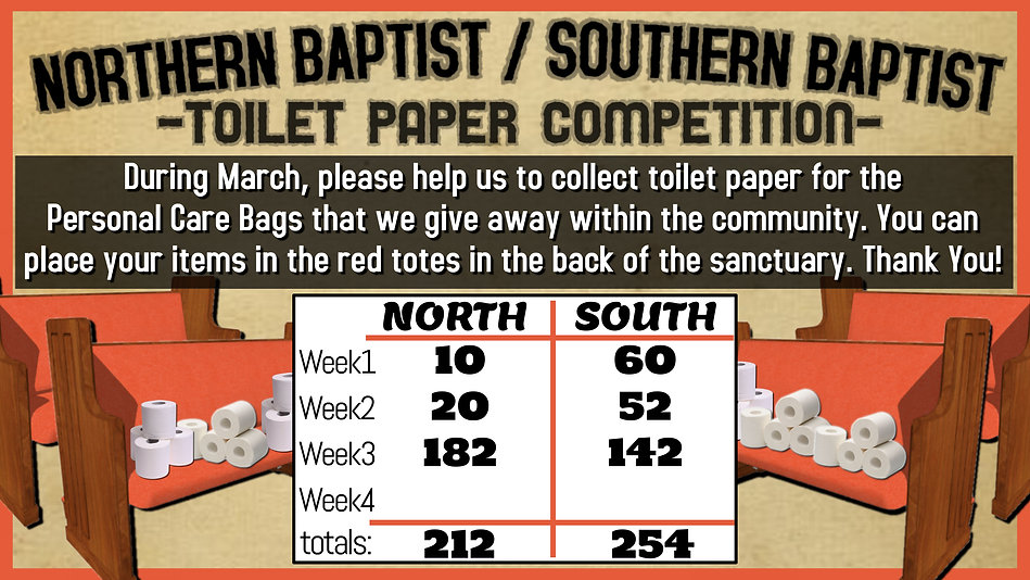 week 3 - TOILET PAPER COMPETITION totals