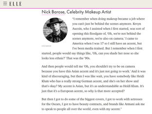 ELLE - MAKEUP ARTIST NICK BAROSE SPEAKS OUT ABOUT RACISM IN THE AAPI COMMUNITY