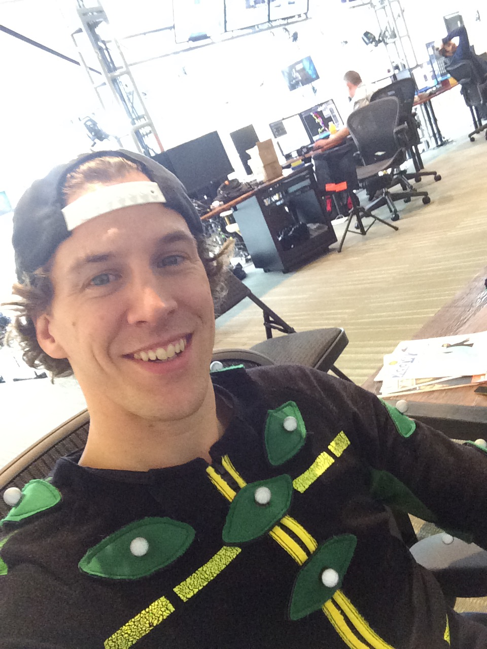 Jesse in a motion capture suit