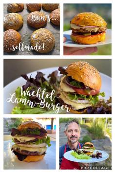 Wachtel-Lamm-Burger, Gartensala, rote Zwiebelringe, Tomaten, Gürkli, Cocktailsauce im selbstgemachten Bun