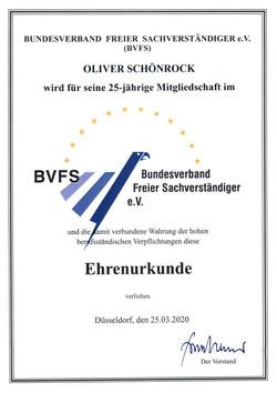BVFS 25 Jahre Urkunde