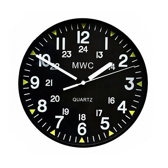 US Military Pattern 12/24 Hour Wall Clock