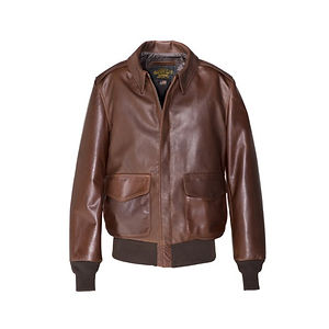 SCHOTT Waxed Natural Pebbled Cowhide A-2 Leather Flight Jacket