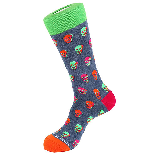 簡單縫合 3D 骷髏船員襪子