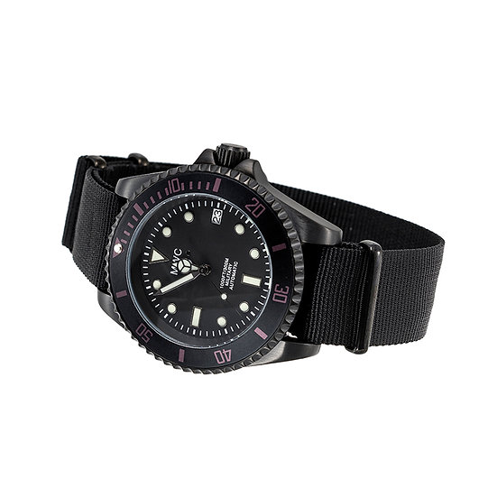 MWC Military Divers Watch in Black PVD Steel