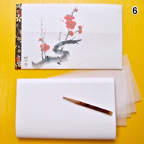 06. Large Kaishi washi Purse with Kuromoji sweetspick, bokusai-ga print, for MEN