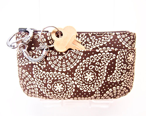 "INDEN deerskin ""flower Paisley"" Brown & Ivory coin Purse with pocket, unused"