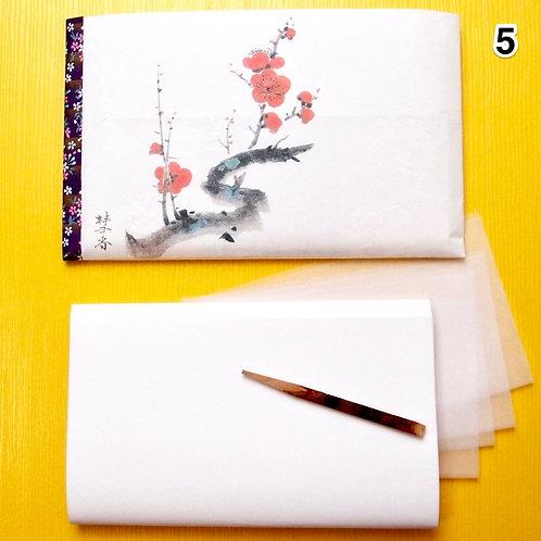 05.Large Kaishi washi Purse with Kuromoji sweetspick, bokusai-ga print, for MEN