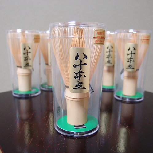 """Chasen"" bamboo tea whisk with 80 outer-side bristles, made by ""Nakata Kisen"""
