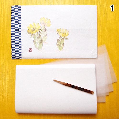 01.Large Kaishi washi Purse with Kuromoji sweetspick, bokusai-ga print, for MEN