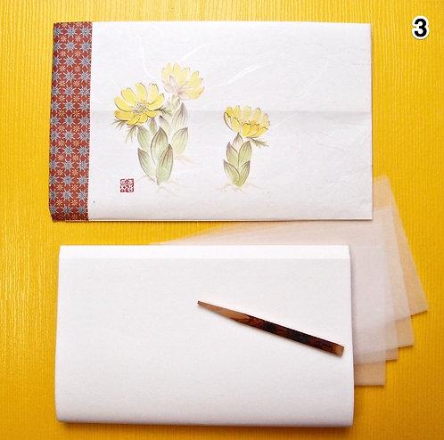 03.Large Kaishi washi Purse with Kuromoji sweetspick, bokusai-ga print, for MEN