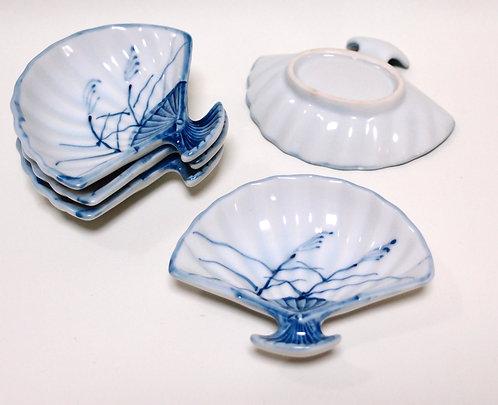 "vintage ""Ougi""Japanese fan-shaped plate, ceramic ware, soy sauce dish, Hashioki,"