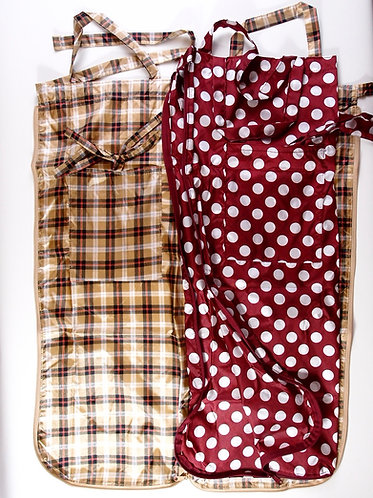 2way nylon flower Bag & Apron with a pocket, various patterns,