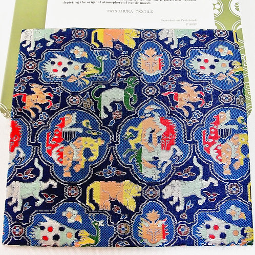Silk KOBUKUSA, the Lion biting Animals pattern, TATSUMURA textiles, unused