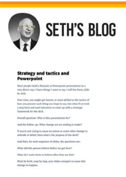 Seth Blog Strategy Tactics and Powerpoin
