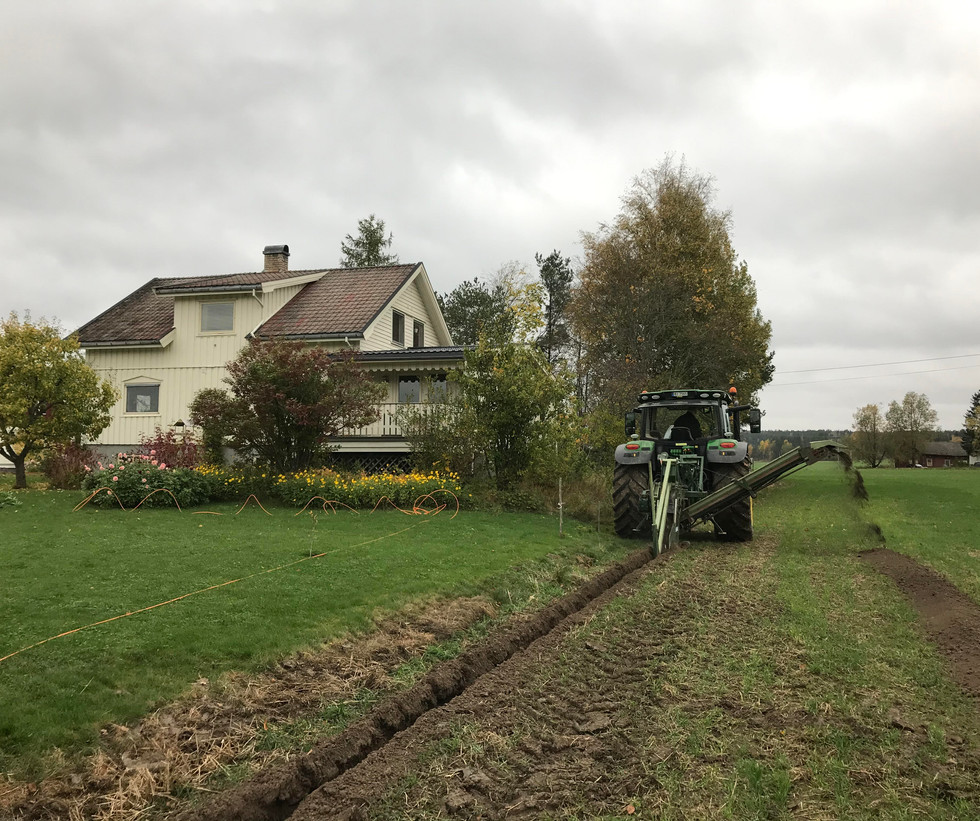 Vi nærmer oss det første huset på Solum søndag 4. oktober 2020