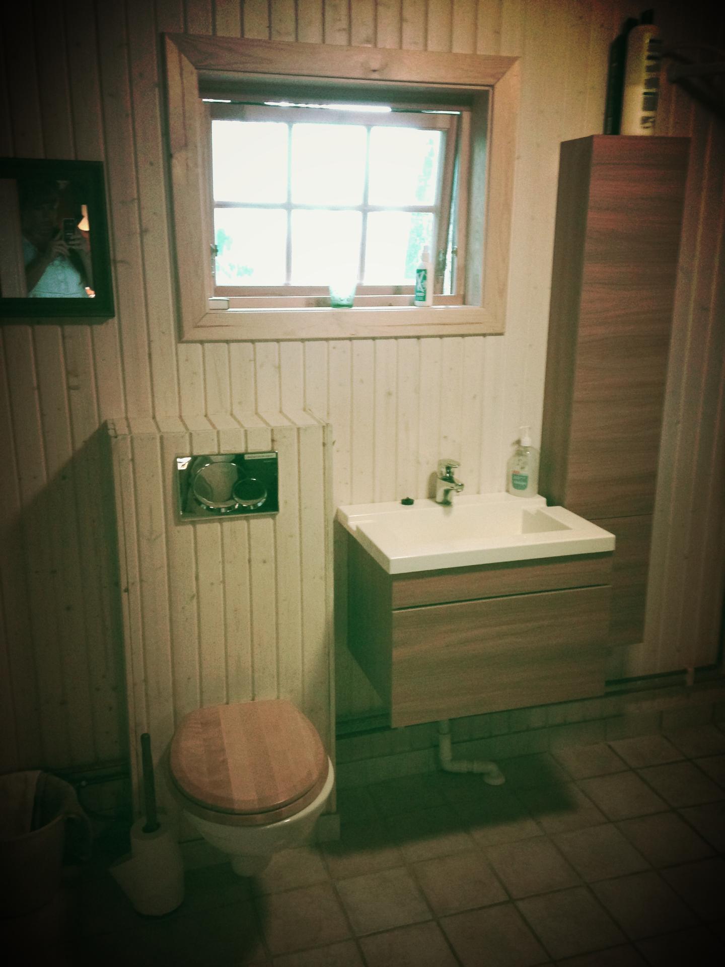 Bad med toalett, vask og dusj.