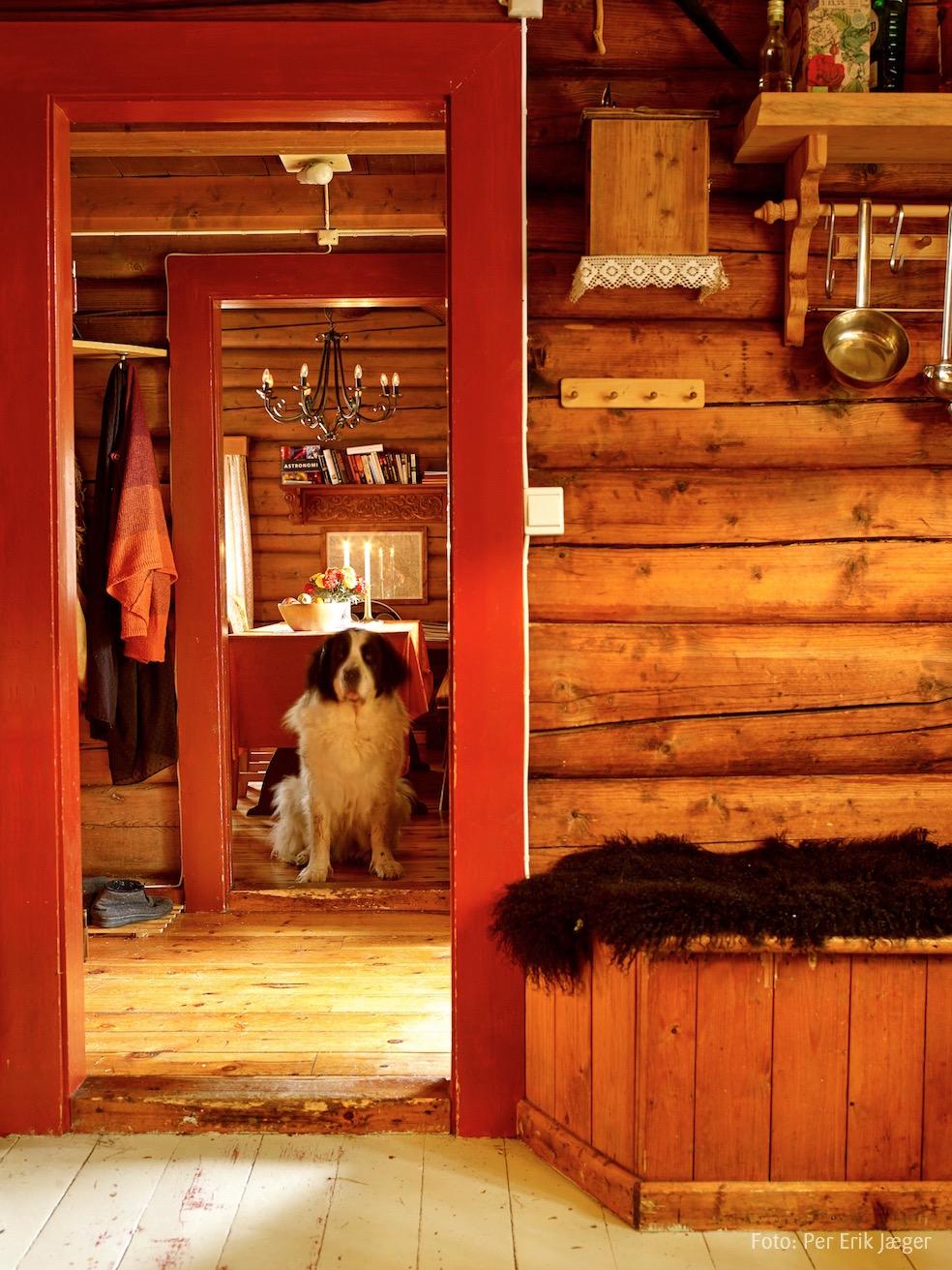 Stue og gang sett fra kjøkkenet