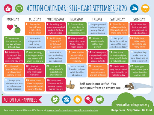 Action for Happiness - Self-Care September 2020