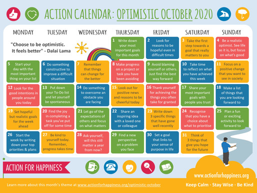 Action for Happiness - Optimistic October 2020