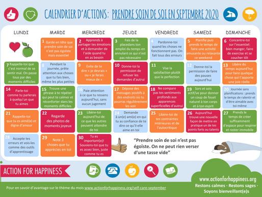 Action for Happiness - Prendre Soin de Soi en Septembre 2020