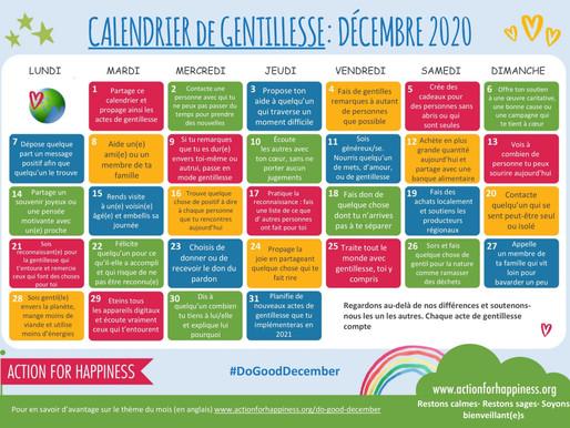 Action for Happiness - Calendrier de Gentillesse Décembre 2020