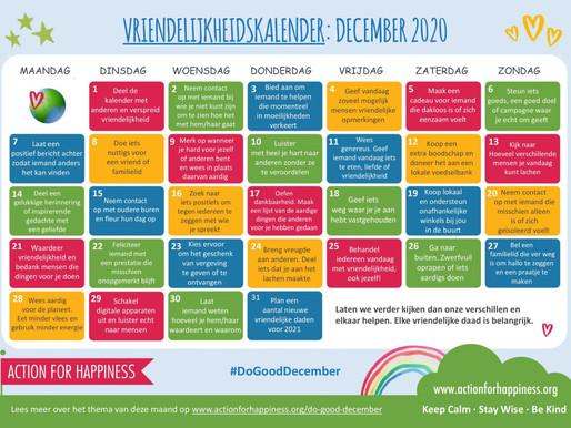Action for Happiness - Vriendelijkheidskalender December 2020