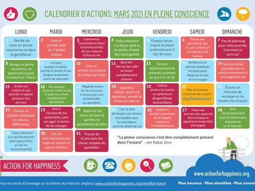 Action for Happiness - Mars 2021 En Pleine Conscience