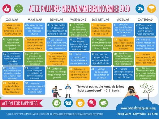 Action for Happiness - Nieuwe Manieren November 2020