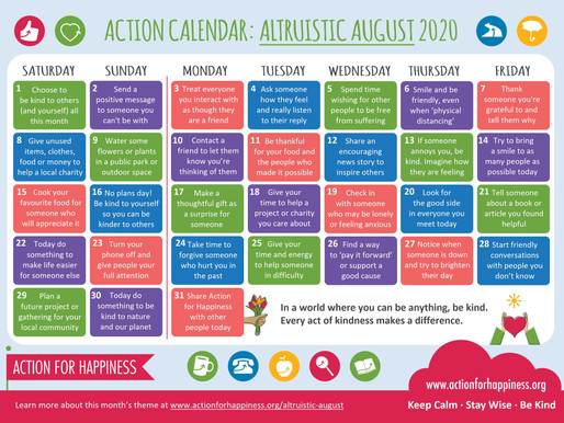 Action for Happiness - Altruistic August 2020