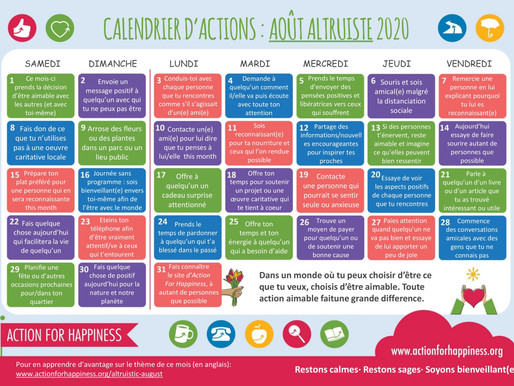 Action for Happiness - Août Altruiste 2020