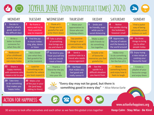 Action for Happiness - Joyful June 2020