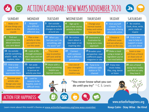 Action for Happiness - New Ways November 2020