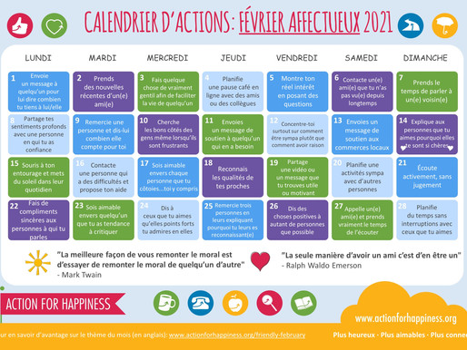 Action for Happiness - Février Affectueux 2021