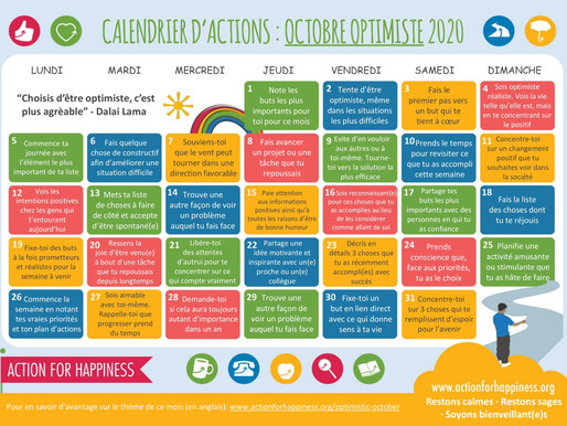 Action for Happiness - Octobre Optimiste 2020