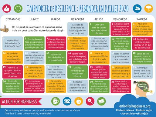 Action for Happiness - Rebondir en Juillet 2020