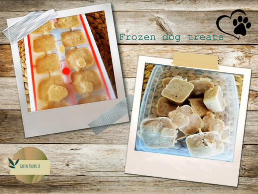 Frozen dog treats with bananas, peanuts and yoghurt