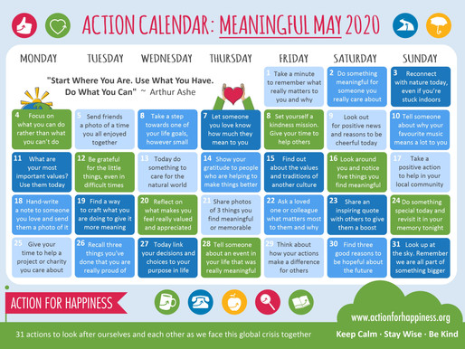 Action for Happiness - Meaningful May 2020