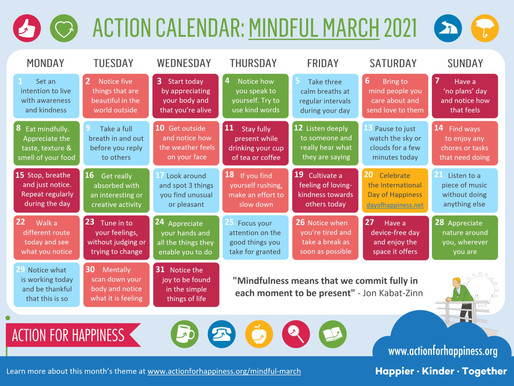 Action for Happiness - Mindful March 2021