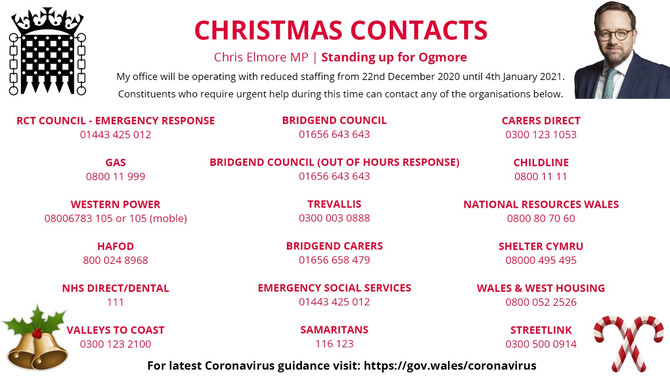 Emergency Numbers and Christmas Opening Hours