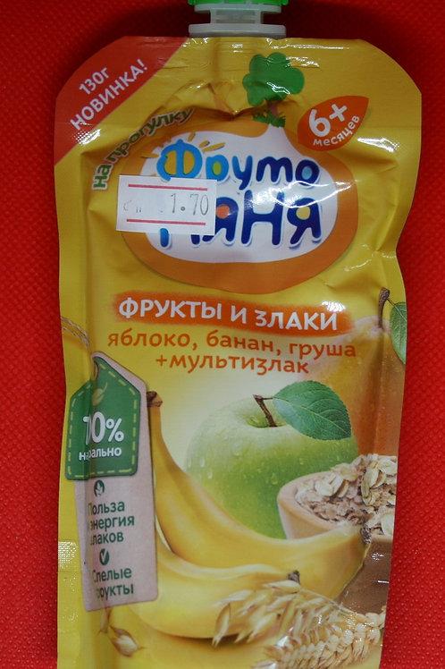 Яблоко, банан и груша + мультизлак