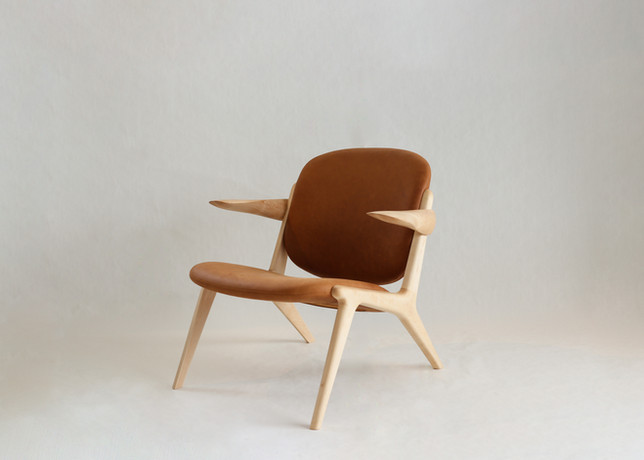 Here's an eye-catching IS Lounge Chair making it's way to a customer. Crafted from maple woo
