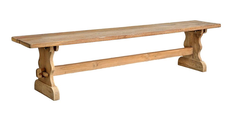 OLT024 - Long Reclaimed Teak Trestle Bench