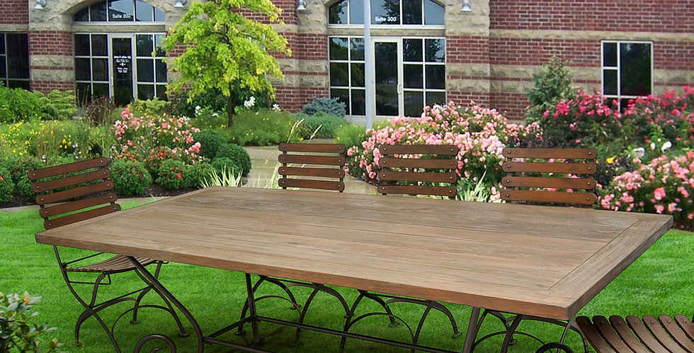 "OLT016 - Villa Reclaimed Teak Dining Table 84"" x 42""  with 'C' Legs"