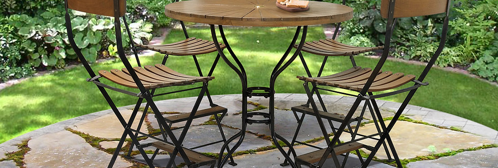 "IRT019 - Toscana Iron & Teak Round Bar Table D 39"""