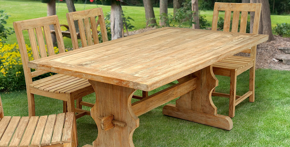 OLT031 - Reclaimed Teak Trestle Dining Table