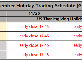 November Holiday Trading Schedule