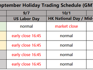 September Holiday Trading Schedule